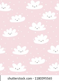 Cute Hand Drawn Smiling Clouds Vector Pattern. White Fluffy Clouds on a Light Pink Snowy Sky. Simple Infantile Design. Pastel Colors. Lovely Abstract Kawaii Sky with Fluffy Clouds. Lovely Nursery Art.