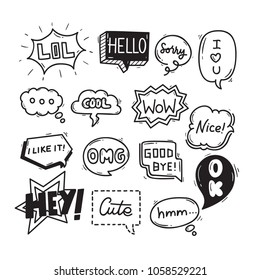 Cute Hand Drawn Speech Bubble Dialog Theme Doodle Collection In White Isolated Background