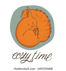 Cute hand drawn squirrel with hand lettering - Cozy time