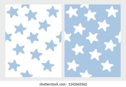 Cute Hand Drawn Stars Vector Pattern Set. Simple Childish Style Vector Design. Blue Stitched Stars Isolated on a White Background. White Stitched Stars on a Blue Background. Simple Abstract Starry Sky