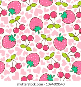 Cute hand drawn strawberry and cherry seamless pattern with heart background