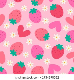 Cute hand drawn strawberry and flower seamless pattern with heart background