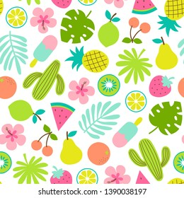 Cute hand drawn summer elements seamless pattern background.