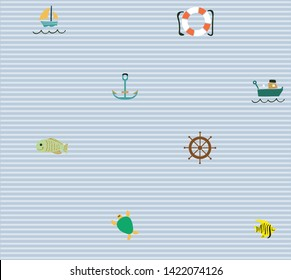 Cute Hand Drawn texture, marine theme design. vector seamless pattern. T-shirt, cards. Vector illustration.fish and sea turtle and anchor and rudder and boat illustration pattern
