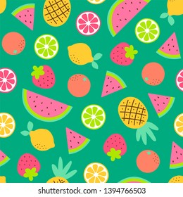 Cute hand drawn tropical fruits seamless pattern background.