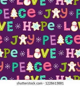 Cute hand drawn typography seamless pattern background for christmas and new year celebration.