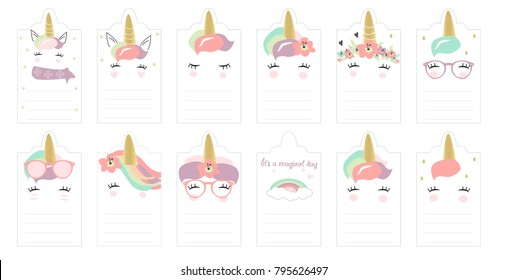 Cute Hand drawn Unicorn Cards, Planner set, Journaling Cards