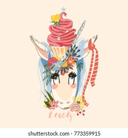 Cute hand drawn unicorn with flowers wreath and beautiful cupcake. Flower bouquet and ribbon. Sketchy unicorn illustration