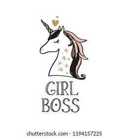 Cute hand drawn unicorn nursery art. Pastel colors. Good for girl prints, birthday invitations, cards. Postcard with magical pony. Vector, clip art. Girl boss theme