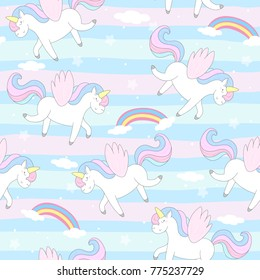 Cute hand drawn unicorn vector pattern. vector illustration.