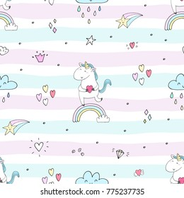 Cute Hand Drawn Unicorn Vector Pattern Illustration