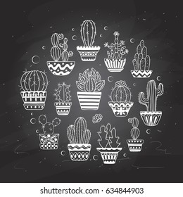 Cute hand drawn vector cactus set