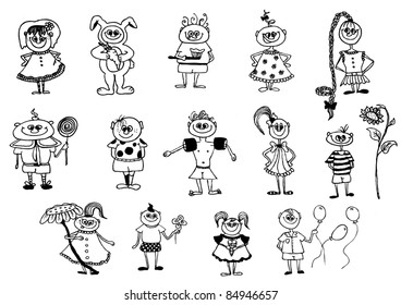 cute hand  drawn vector characters