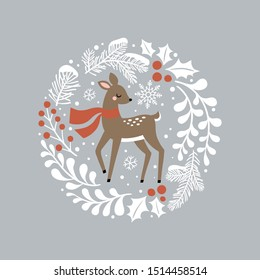 Cute hand drawn vector deer in wreath. Perfect for tee shirt logo, greeting card, poster, invitation or print design.