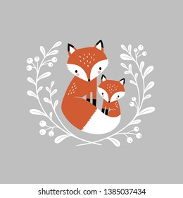 Cute hand drawn vector foxes in wreath. Perfect for tee shirt logo, greeting card, poster, invitation or print design. You can find the matching seamless pattern in my Woodland set.