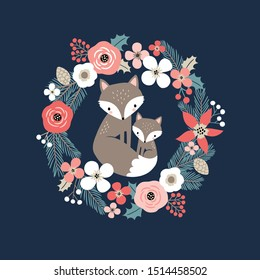 Cute hand drawn vector foxes in floral wreath. Perfect for tee shirt logo, greeting card, poster, invitation or print design.