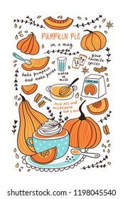 Cute hand drawn vector illustration. Pumpkin pie in a mug. Pumpkin recipe for thanksgiving day for tea towel design.