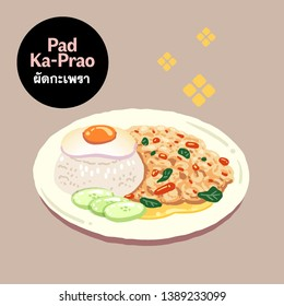 Cute Hand drawn vector illustration of Thai food Pad Ka-Prao or Thai stir-fried holy basil with fried egg