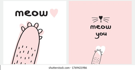 Cute Hand Drawn Vector Illustration for Cat Lovers. Lovely Wall Art with Handwritten Meow, Cat's Paw on a White and Light Pink Background. Kids Room Decoration.