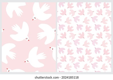 Cute Hand Drawn Vector Seamless Patterns with Pink and White Birds on a White and Pastel Pink Background. Sweet Infantile Style Print with Flying Doves ideal for Fabric, Textile, Wrapping Paper.