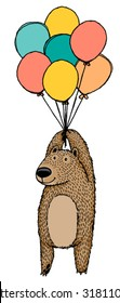 Cute hand drawn vector sketch of a brown bear holding on to a bunch of bright balloons