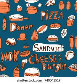 Cute hand drawn vector vintage craft doodle fast food street food seamless pattern for food package or restaurant menu. Sandwich, Wok, Pizza, Hotdog, sauces, noodle, tacos and other food