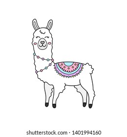 Cute hand drawn white llama with patterned fringed blanket. Cute furry llama or alpaca animal outlined vector illustration. Isolated.