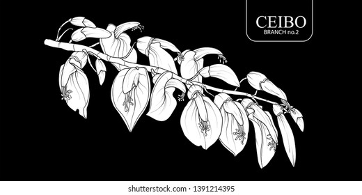 Cute hand drawn white silhouette Ceibo branch set 2. Flower vector illustration in white plane without outline on black background.