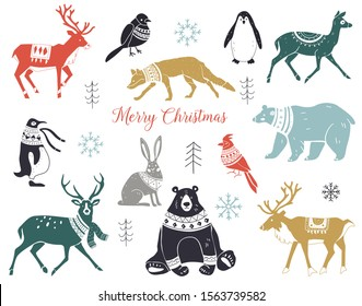 Cute hand drawn winter animals set in sweater, scarf and hat. Silhouettes of wild animals in scarves with ornaments. Scandinavian style.