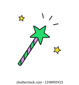 Cute hand drawn witch magic wand vector illustration. Halloween, wizard green and purple wand with yellow stars, isolated.