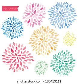 Cute Hand Painted Vector Watercolor Fireworks Flower Sunbursts
