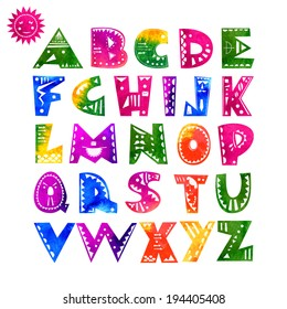 Cute hand-drawn alphabet letters with watercolor texture and ethnic pattern. Vector illustration