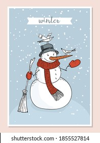 Cute hand-drawn doodle snowman wrapped in a red scarf in a hat with a broom in his hand. Birds sit on it. A cartoon snowman feeds the birds with crumbs. Vector stock greeting card illustration.