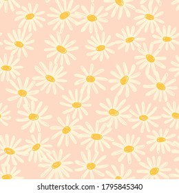 Cute  hand-drawn pattern with decorative chamomile flowers on the pink background in minimalistic childish  style. For textiles, wallpapers, designer paper, etc