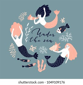 Cute hand-drawn poster design with swimming mermaids, fish and shell. Underwater background with lettering - 'Under water'. Vector illustration in hand drawn style.