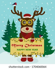 Cute hand-drawn reindeer with speech bubble and handwritten text Merry Christmas and Happy New Year on a snowy background. Christmas deer with birds and garland.  Greeting card in cartoon style.