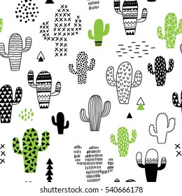 cute hand-drawn seamless pattern with cactus