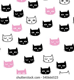 cute hand-drawn seamless pattern with cats