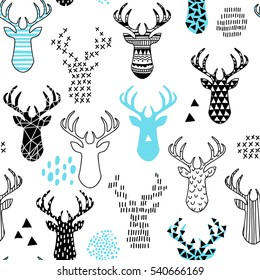cute hand-drawn seamless pattern with deer