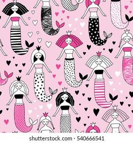 cute hand-drawn seamless pattern with mermaid