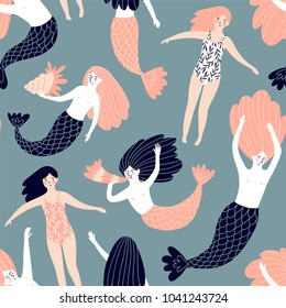 Cute hand-drawn seamless pattern with mermaids and swimming girls. Magic endless design for fabric, wrap paper or wallpaper.