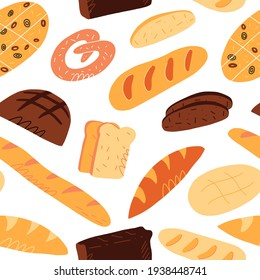 Cute hand-drawn seamless pattern with various traditional French, Italian and others bread varieties. Isolated cartoon style vector illustration.