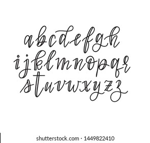 Cute hand-drawn vector faux calligraphy alphabet in lowercase. Quotes, journaling, titles