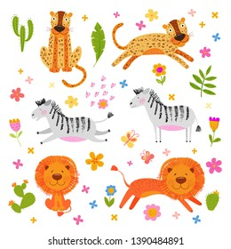 Cute happy African animals. The lion, zebra, leopard jump and sit in the meadow. Vector background with flowers. Hand drawn illustration. Pencil texture. Funny character for kids. Scandinavian style.