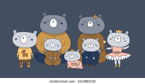 Cute happy animal family of teddy bears: the best dad ever, father, mother, mom, children, sister, brother, newborn baby. Portrait with all the relatives, family members of all ages