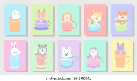 cute happy animal vector illustration set
