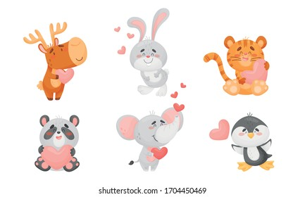 Cute Happy Animals Holding Hearts and Smiling Vector Set