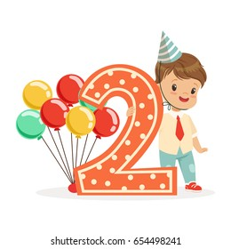 Cute Happy Baby Boy Celebrating His Second Birthday Colorful Cartoon Character Vector Illustration
