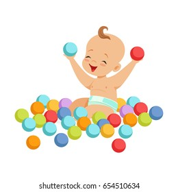 Cute happy baby sitting and playing with multicolored small balls, colorful cartoon character vector Illustration