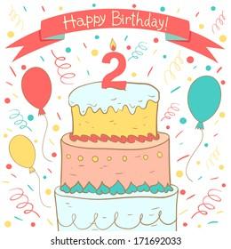 Phenomenal 2Nd Birthday Cake Images Stock Photos Vectors Shutterstock Funny Birthday Cards Online Benoljebrpdamsfinfo